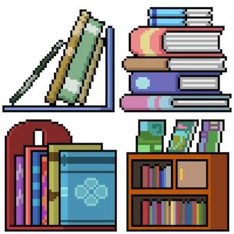 Pixel art de la pile d'étagères de livres