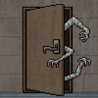Pixel art de la porte ouverte de la main fantôme