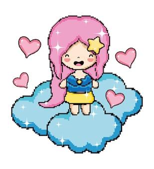 Pixel art princesse dans le personnage de nuage