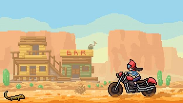 Pixel art scène désert sauvage ouest