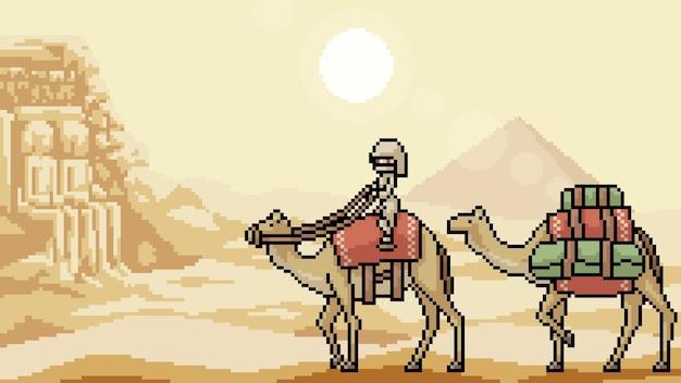 Pixel art scène désert voyage