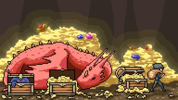 Pixel art scène dragon trésor