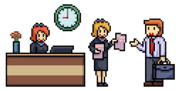 Pixel art de la scène des employés de bureau