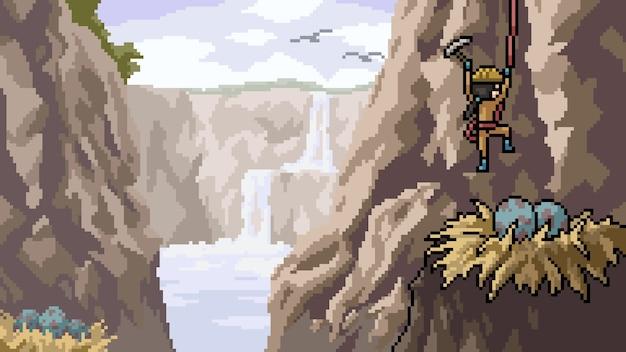Pixel art scène oiseau oeuf voler
