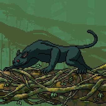 Pixel art scène panthère noire