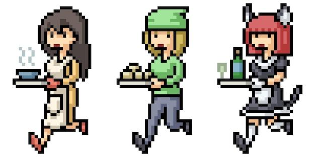 Pixel art de la serveuse du restaurant