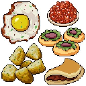 Pixel art set collation petit déjeuner isolé