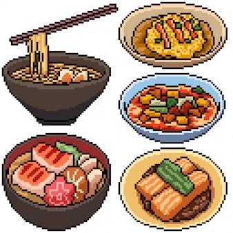 Pixel Art Set Cuisine Asiatique Isolée Vecteur Premium