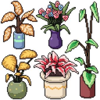 Pixel art set décoration végétale isolée