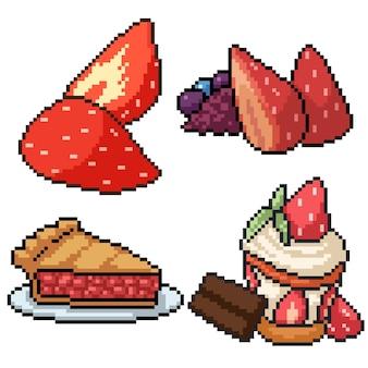 Pixel art set dessert aux fraises isolé