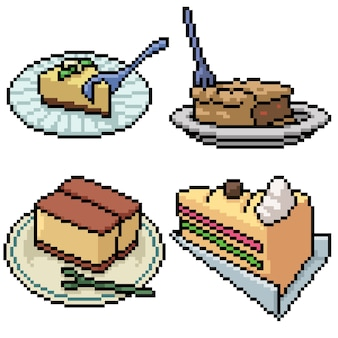 Pixel art set dessert gâteau isolé