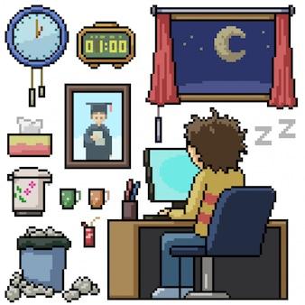 Pixel art set homme isolé travailler des heures supplémentaires
