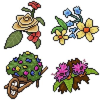 Pixel art set jardin fleuri isolé