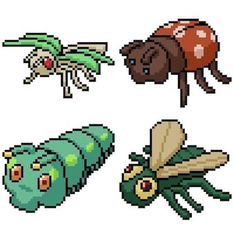 Pixel art set poupée insecte isolé