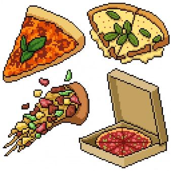 Pixel art set repas de pizza isolé