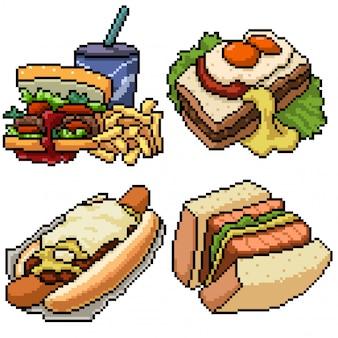Pixel art set repas sandwich boulangerie isolé