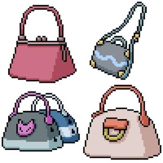 Pixel art set sac à main femme isolée