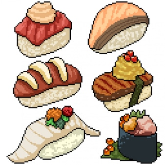 Pixel art set sushi fantaisie isolé