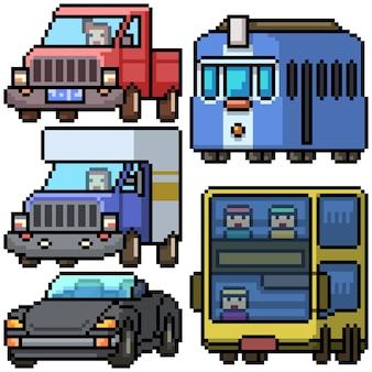 Pixel art set transport de voiture isolé