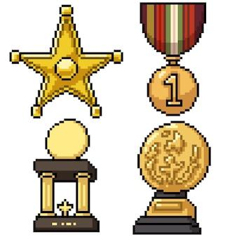 Pixel art set trophée d'or isolé