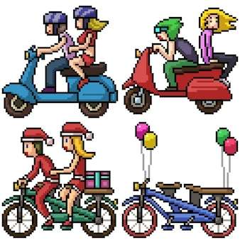 Pixel art set vélo couple isolé