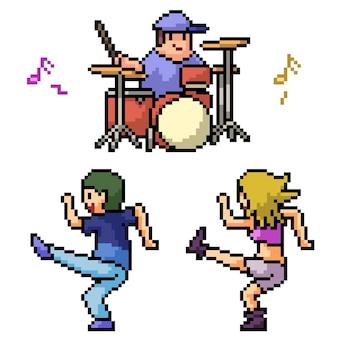 Pixel art de la soirée dansante adolescente