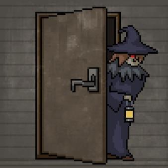 Pixel art de sorcière porte ouverte