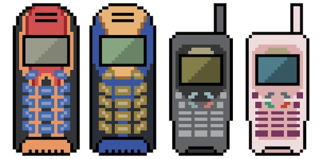 Pixel art de téléphone mobile obsolète