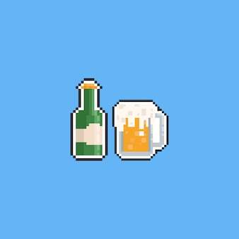 Pixel beer icon set