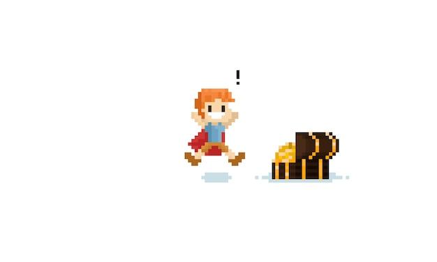 Pixel boy avec couverture rouge a trouvé le trésor