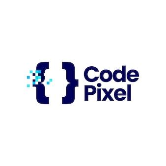 Pixel de code marque numérique 8 bits logo icône vector illustration