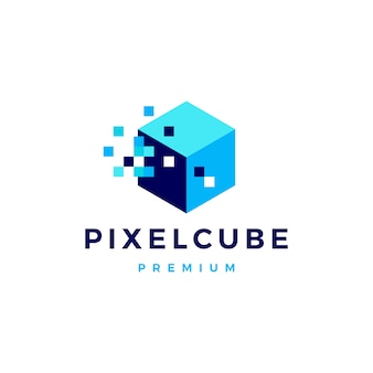 Pixel cube box logo numérique icône illustration