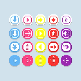 Pixel flèches jeu d'icônes vectorielles