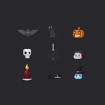 Pixel halloween elements.8bit.