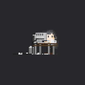 Pixel homme qui travaille dur avec l'ordinateur de bureau