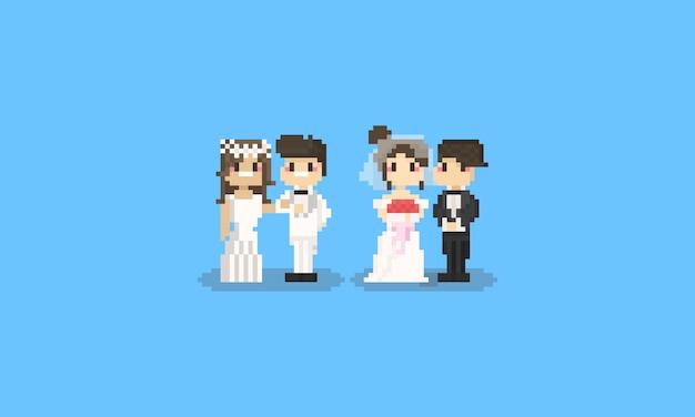Pixel jeu de caractères de mariage mignon. 8 bits