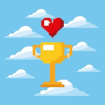 Pixel jeu trophée et coeur