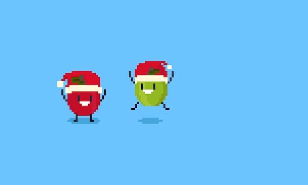 Pixel joyeux pomme verte et rouge