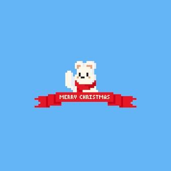 Pixel ours polaire la main dans les airs avec ruban rouge