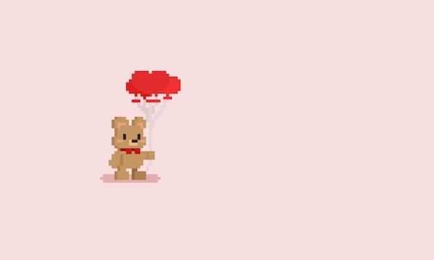 Pixel petit ourson tenant des ballons