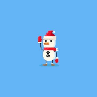 Pixel remet le personnage de bonhomme de neige.