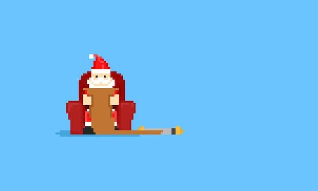 Pixel santa claus est assis sur le canapé et lit une longue lettre.