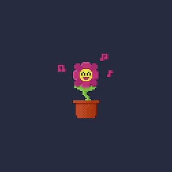 Pixel sourire fleur avec note de musique