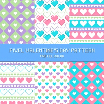 Pixel st valentin motif couleur pastel