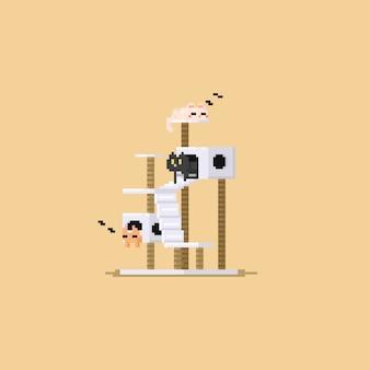 Pixel trois chat mignon reposant dans un condo de chat