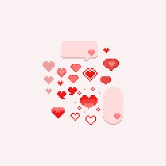 Pixel valentine coeurs set.8bit.
