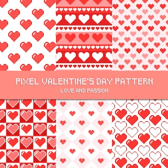 Pixel valentine's day pattern amour et passion