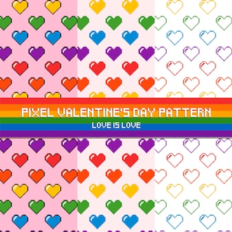 Pixel valentine's day pattern love is love