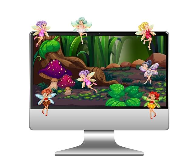 Pixie fantasy land sur le bureau de l'ordinateur