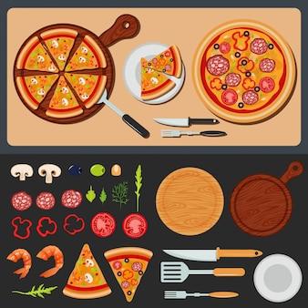 Pizza sur l'assiette et ingrédients pour la pizza